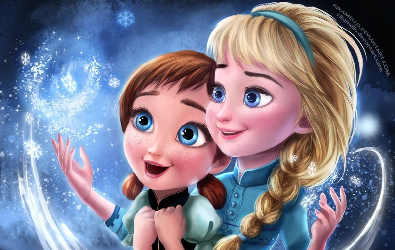 Young Elsa and Anna Dolls Poster