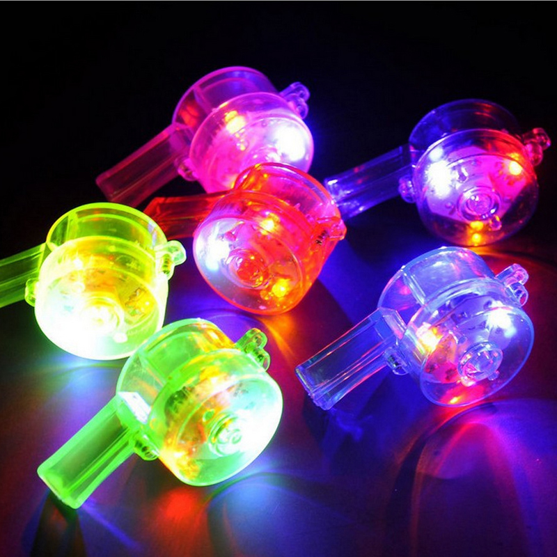 Colorful LED Light Up Toys Flashing Whistle With Lanyard Luminous Toys For Children Kids Party Game Favorite Toy Boys Girls Gift