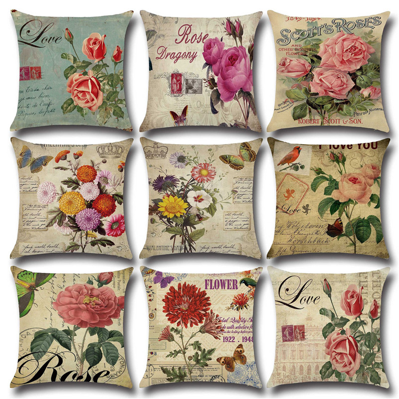 Vintage Rose Flower Pillow Case Cotton Linen Cushion Cover Office Sofa Car Throw Pillowcase Romantic American Country Home Decor