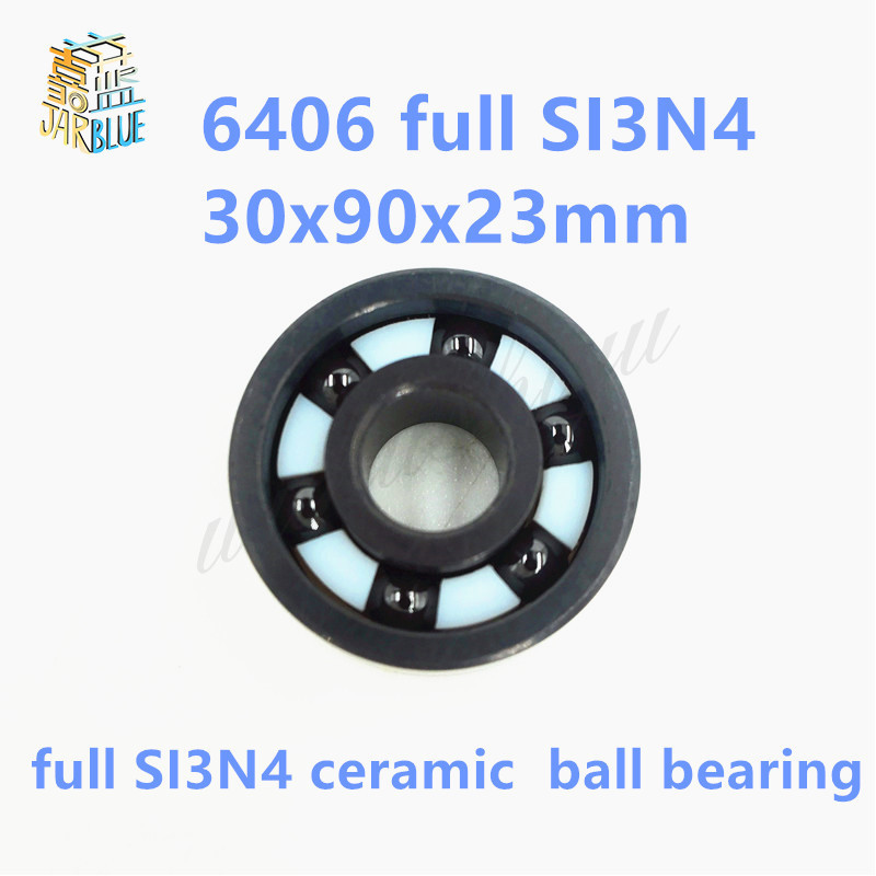 Free shipping high quality 6406 full SI3N4 ceramic deep groove ball bearing 30x90x23mm P5 ABEC5 high quality mr115 full si3n4 ceramic deep groove ball bearing 5x11x4mm