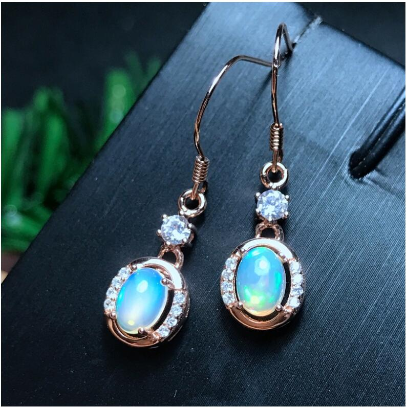 Opal  earring Free shipping Nature real opal 925 sterling silverFine jewelry Gem Size 6*8mm Opal  earring Free shipping Nature real opal 925 sterling silverFine jewelry Gem Size 6*8mm