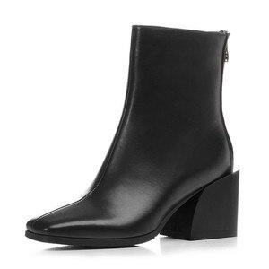 Image 2 - MORAZORA 2020 en kaliteli tam hakiki deri ayakkabı kadın yarım çizmeler zip kare topuklu Chelsea çizmeler moda elbise ayakkabı kadın