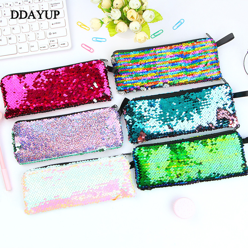 Sequin Pencil Case Flash Sequin Pen Bag School Supplies Girl Handbags Sundries Cosmetic Bag Multi-function Bag