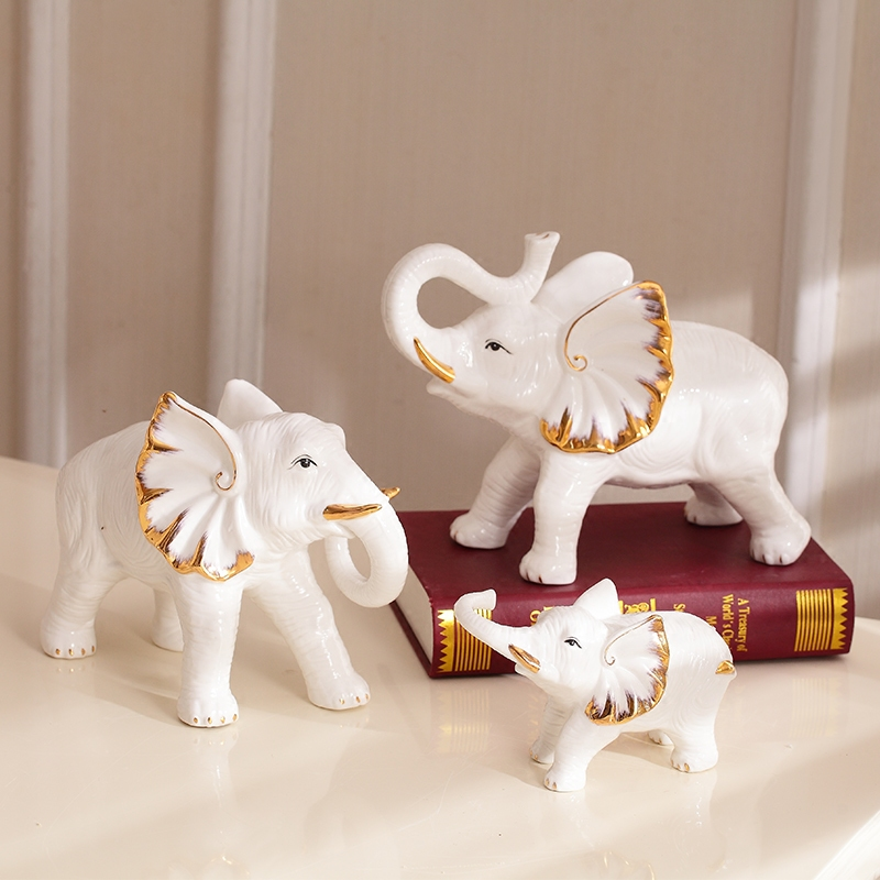 White ceramic creative elephant family statue home decor for Decoration elephant