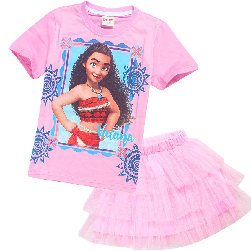Moana Summer Girls Clothes Set Short Sleeve T-shirts + Skirt 2 Pcs Kids Girls Clothing Girls Top Tees Baby Girls Suits 4th of july baby girls clothing set summer girls tees ruffle short girls outfit american usa flag baby clothes 2pcs kids clothes