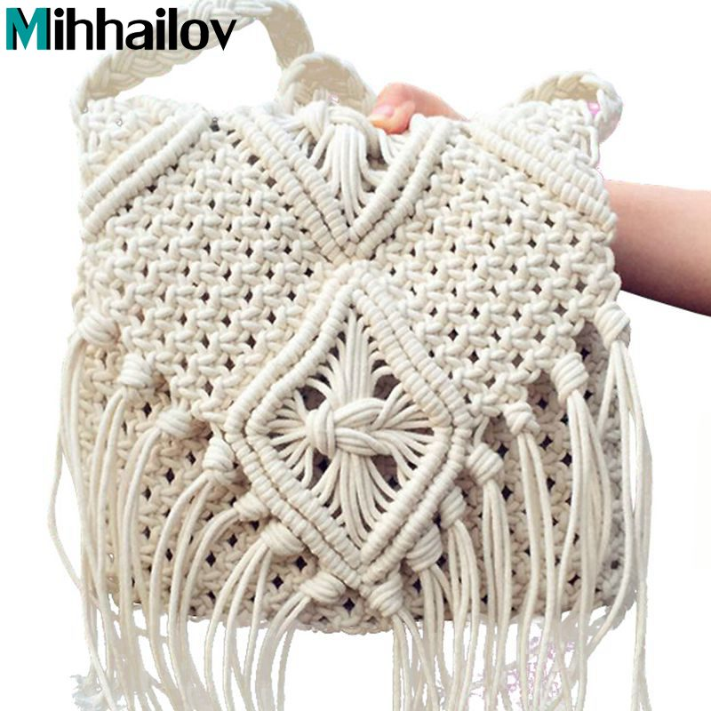 2018 mujeres crochet fringed Messenger Bolsas Cruz borlas playa ...