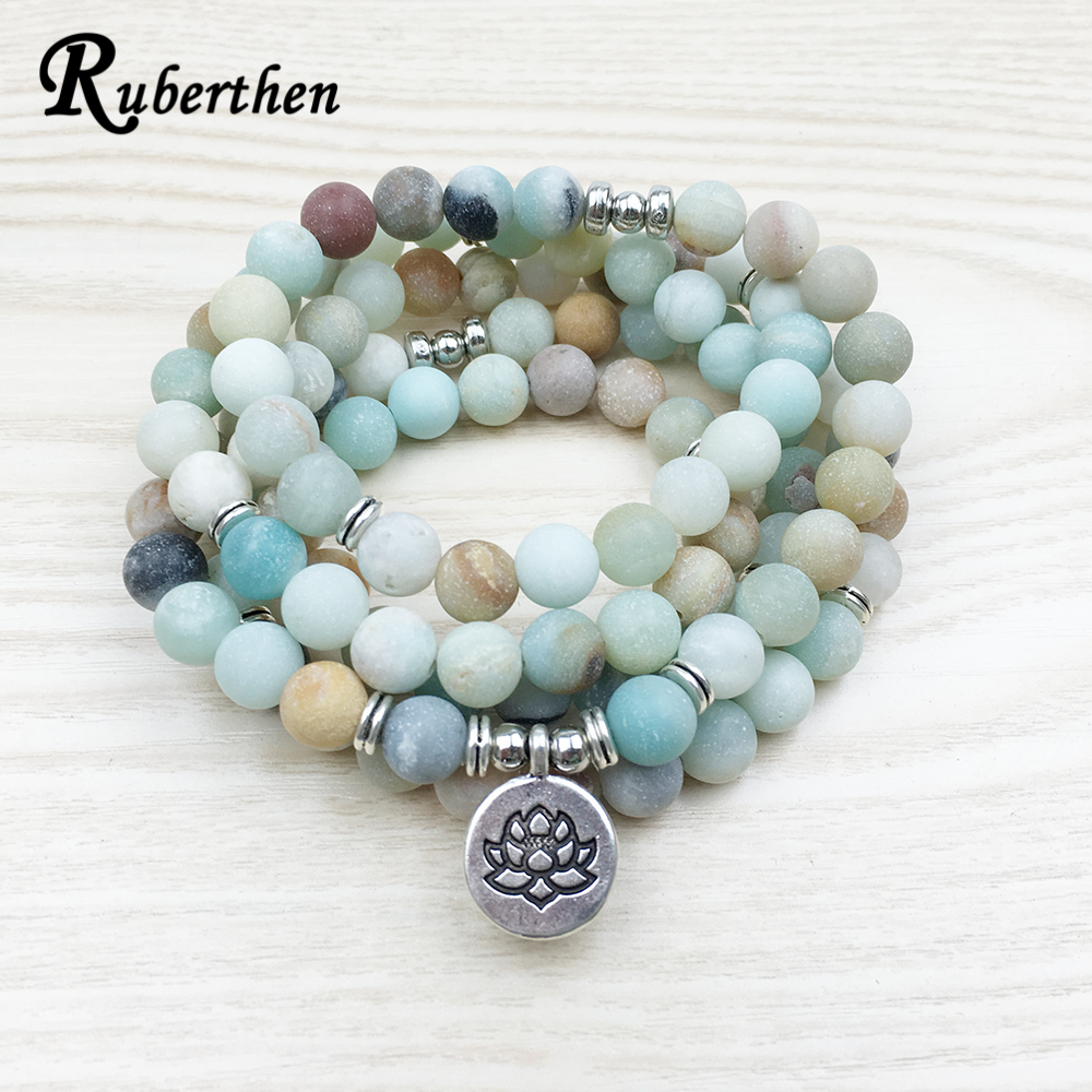 Ruberthen Fashion Women`s Matte Amazonite 108 Mala Beads Bracelet or Necklace High Quality Lotus Charm New Design Yogi Bracelet