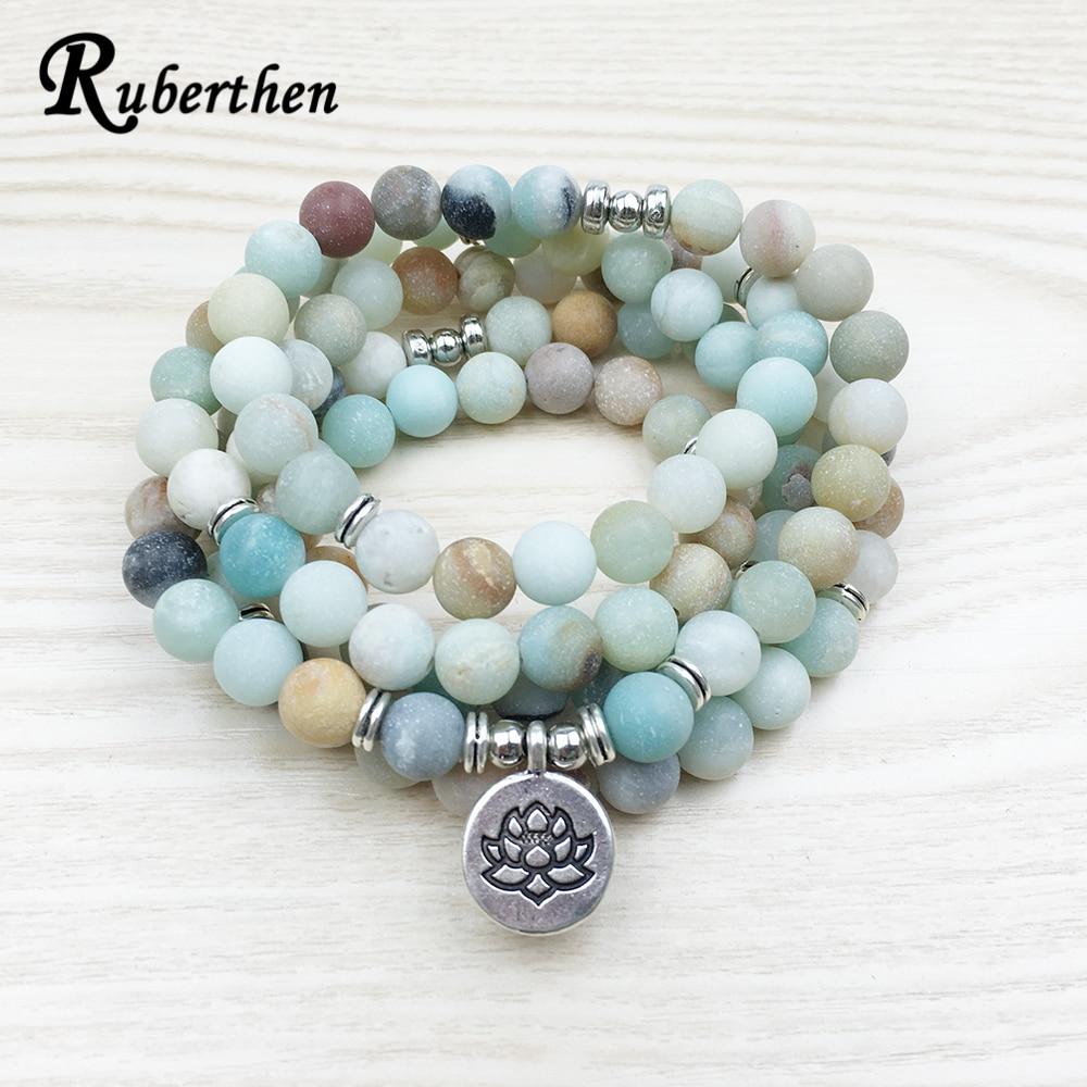 Ruberthen Fashion Women`s Matte Amazonite 108 Mala Beads Bracelet or Necklace High Quality Lotus Charm New Design Yogi Bracelet