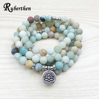 Lubean Fashion Women S Matte Amazonite 108 Mala Beads Bracelet Or Necklace High Quality Lotus Charm
