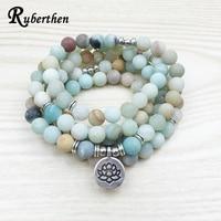 Lubean Fashion Women S Matte Amazonite 108 Mala Beads Bracelet Or Necklace High Quality Lotus Charm