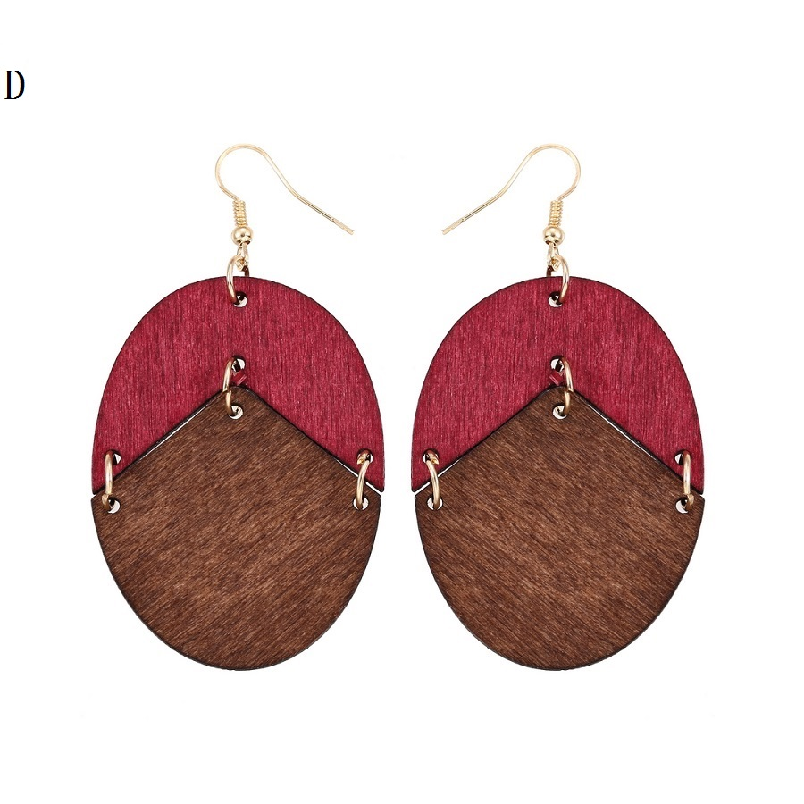 YULUCH 18 New Design Natural Wooden Earrings Two Colors Oval Wooden Earrings DIY Gold Hook Earrings For Woman Girls Jewelry 5