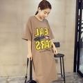 Plus Size maternidade grande solto T - vestidos de camisa carta imprimir manga curta projeto de longo solto T camisa Tops