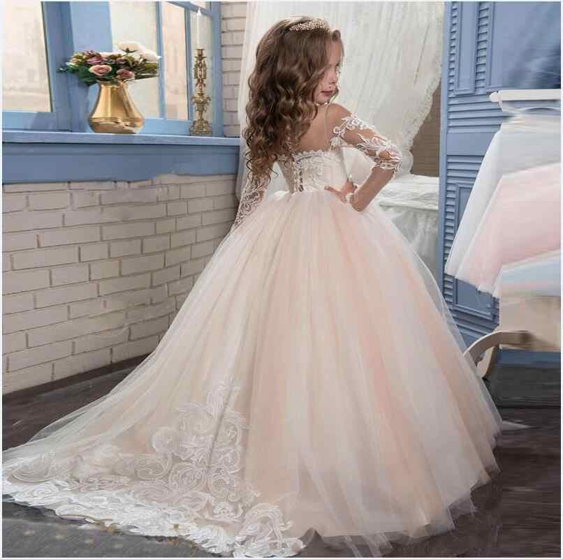 Vestidos de niña de flores de manga larga para boda sirena niños ropa encaje niñas vestidos para fiesta y madre hija vestidos
