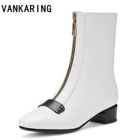 new brand fashion women boots thick high heels fetish zip boots leather block white sock ankle boots scarpins chunky shoes woman