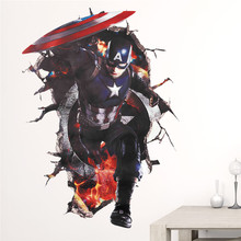 Captain America 3d Broken Hole Wall Stickers Home Decoration Kids Room Decal Super Hero Mural Art Avenger Boys Movie Poster