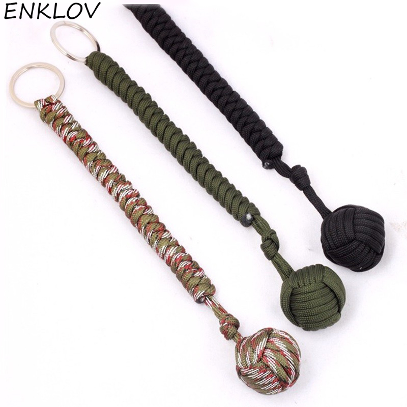 ENKLOV Outdoor Security Protection Black Monkey Fist Steel Ball For Girl Self Defense Lanyard Survival Key Chain