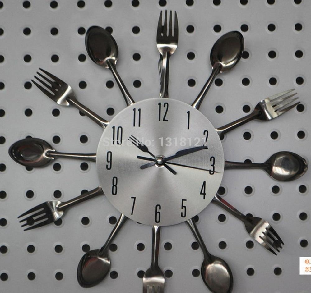 horloge murale en métal promotion-achetez des horloge ... - Montre De Cuisine Design