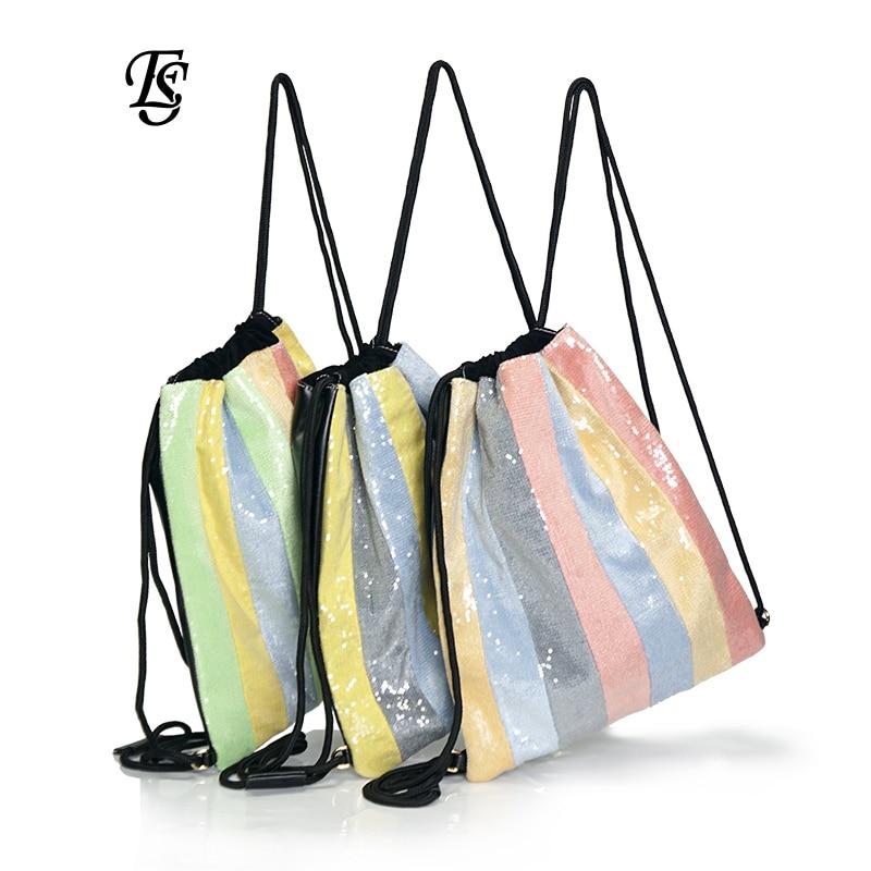 E. SHUNFA marke neue ankunft regenbogen weibliche rucksack mode perlen multicolor casual INS heißer verkauf seil frau rucksack-in Rucksäcke aus Gepäck & Taschen bei  Gruppe 3