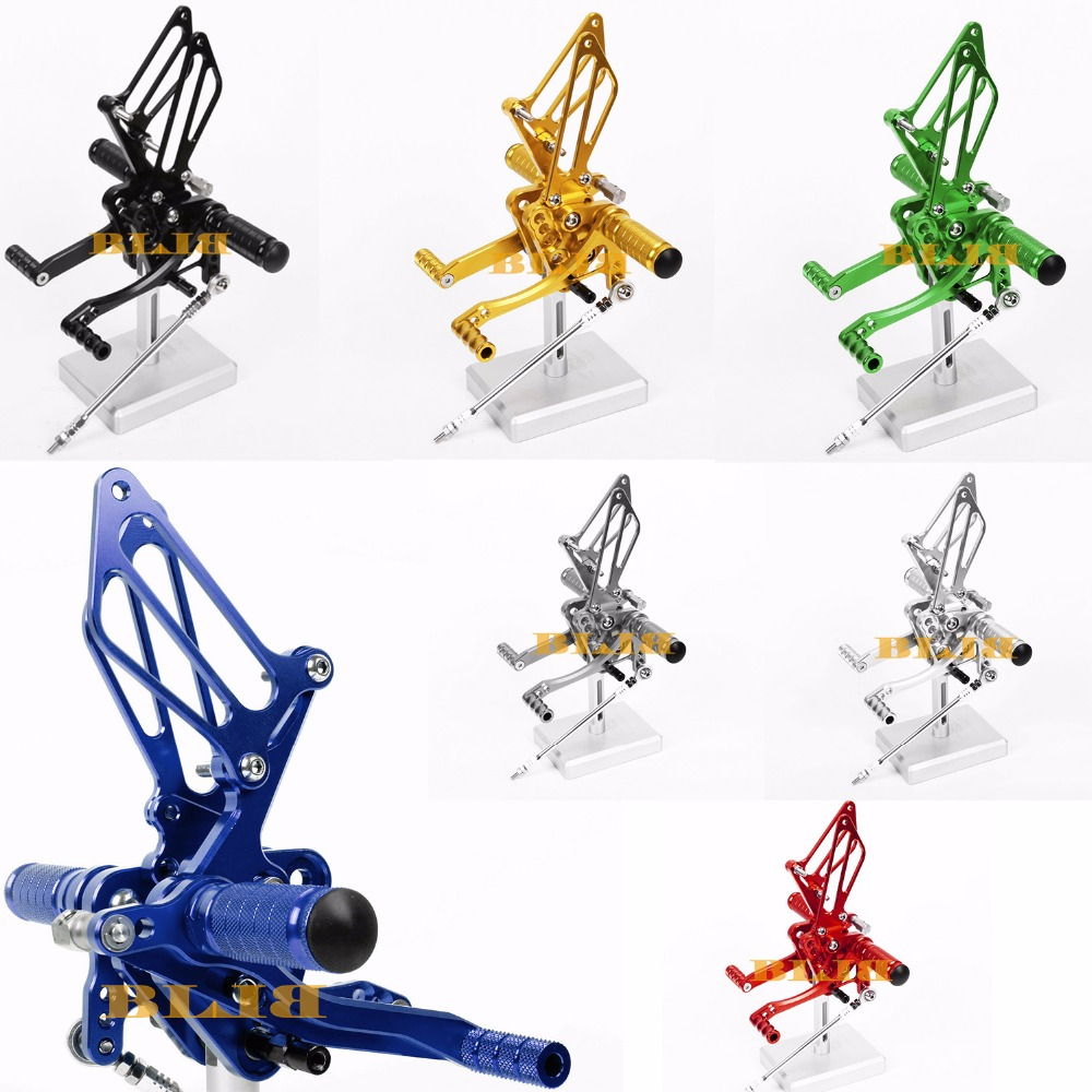 hight resolution of 8 colors cnc rearsets for suzuki gsxr 600 750 2011 2016 rear set motorcycle adjustable foot stakes pegs pedal 2015 2014 2013