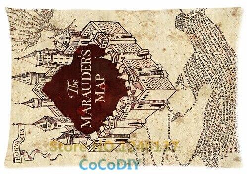 Bedding Pillow Cover Harry Potter Marauder\'s Map Poster Comfort ...