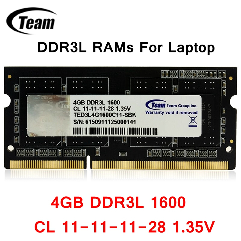 Team Group Team <font><b>DDR3L</b></font> Laptop RAMs <font><b>4GB</b></font> 8GB 1600MHz 204pin CL 11-11-11-28 1.35V high quality laptop memory image