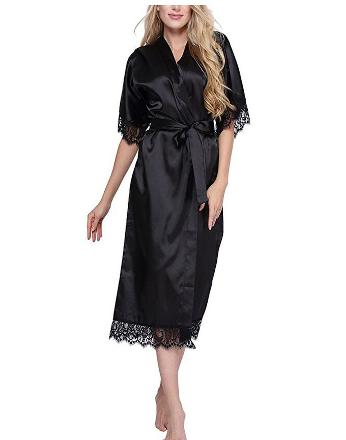 High Quality Black Women Silk Rayon Robe Sexy Long Lingerie Sleepwear Kimono Yukata Nightgown Plus Size S M L XL XXL XXXL A-050