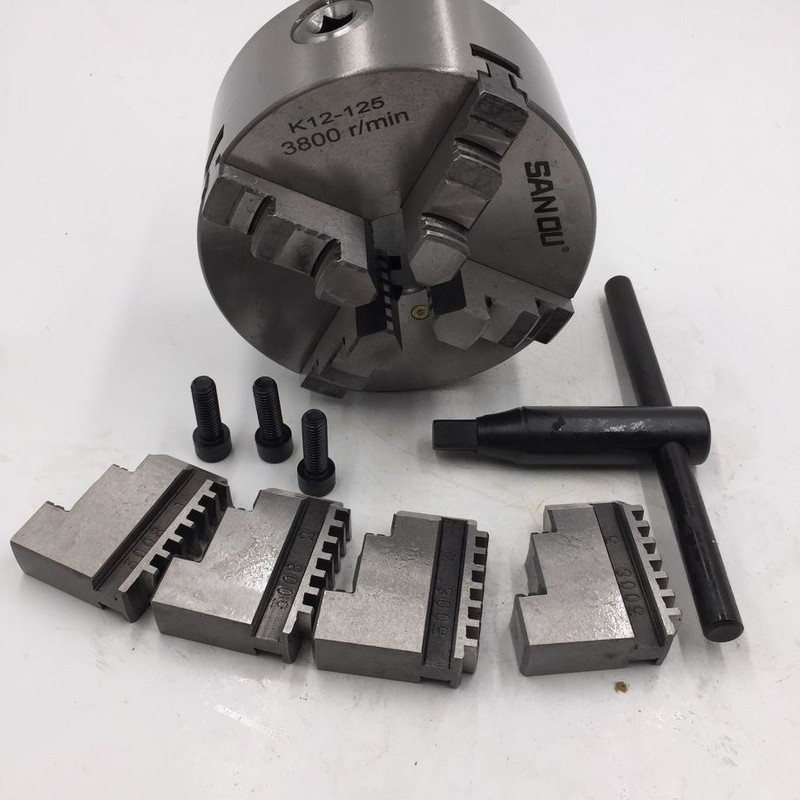 4 Jaw 125MM 5 Self Centering Lathe Chuck SANOU K12-125 Hardened Reversible Mounting Tool for Drilling Milling woodworking4 Jaw 125MM 5 Self Centering Lathe Chuck SANOU K12-125 Hardened Reversible Mounting Tool for Drilling Milling woodworking