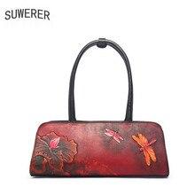 SUWERER 2019 New Women Genuine Leather bags luxury handbags women bag designer Cowhide Embossed leather shoulder