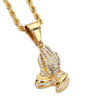 New Design Jewelry Fashion Charms Praying Hands Pendants Necklaces Full Rhinestone Hip Hop Chains Filling Pieces
