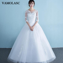 VAMOLASC Crystal O Neck Lace Appliques Ball Gown Wedding Dresses Illusion Half Sleeve Bow Sash Backless Bridal Gowns