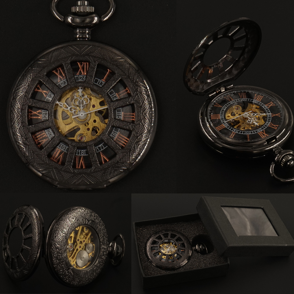 Mens Black Roman Numerals Mechanical Pocket Watch FOB Chain Gift Box Hand Wind Hollow Steampunk Pocket Watch 2017 Free Shipping