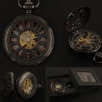 Mens Black Roman Numerals Mechanical Pocket Watch FOB Chain Gift Box Hand Wind Hollow Steampunk Pocket