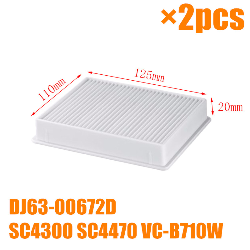 2 PCS Vacuum cleaner dust hepa filters white filter for samsung DJ63-00672D SC4300 VC-B710W vacuum cleaner replacement parts vacuum cleaner accessories parts dust filters hepa for samsung vc f700g vc f500g canister vu7000 vu4000 su10f40 sc18f50