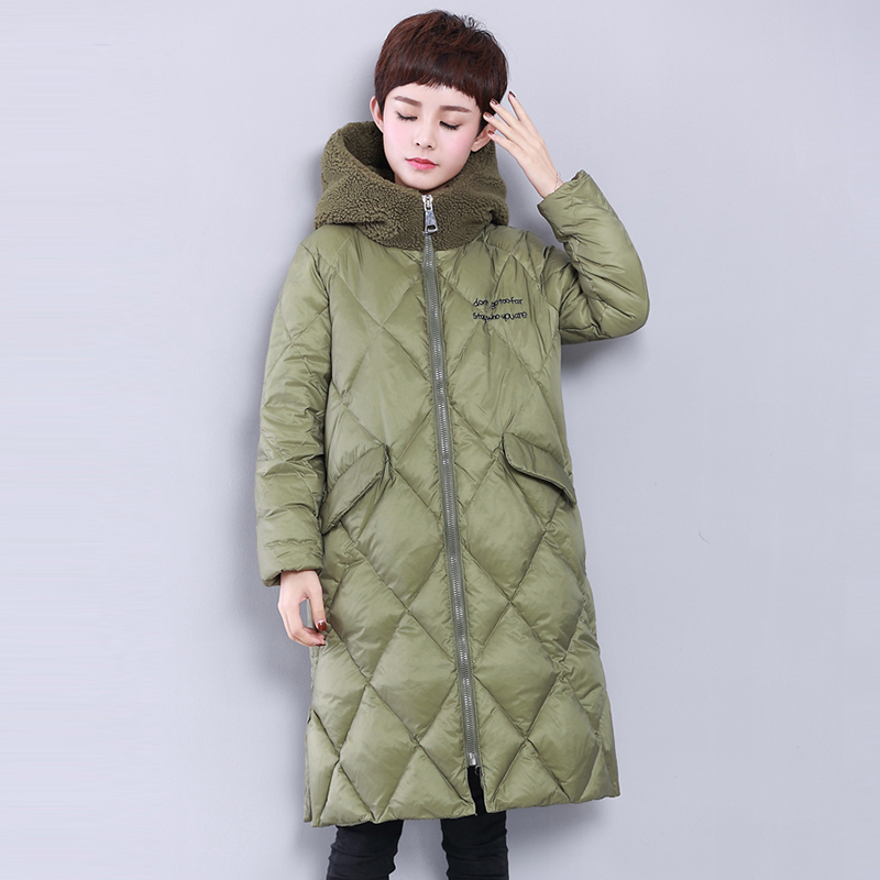 Down   Jacket Woman Hooded Long   Coat   Winter   Coat   Women Lamb Fur Collar Parka   Down     Coats   Thick Duck   Down   Outwears YP2125