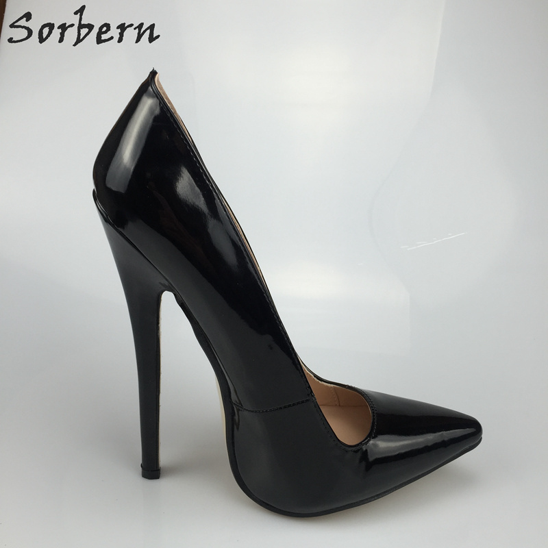 Sorbern Sexy Black Patent Leather Spike Heel Women Shoes Pointed Toe Slip On 18Cm Stiletto High Heels Designer Heels Spring 2018 trendy thin heel pointed toe women polka dot pump spring slip on high heels black white stiletto 2018 brand fetish factory shoes