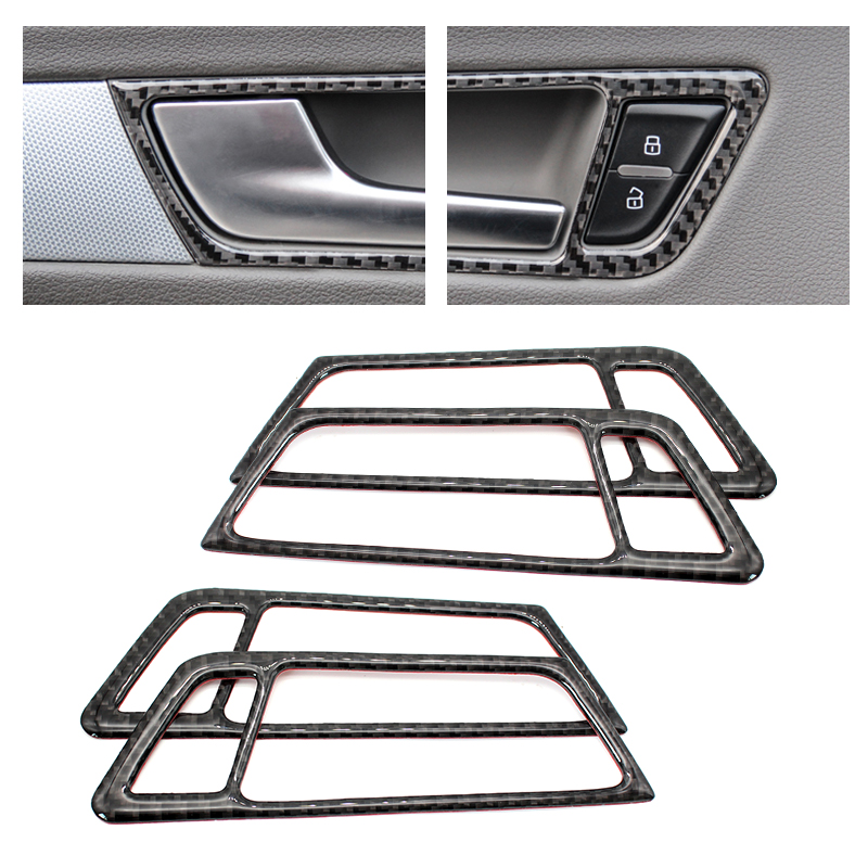 For Audi Q5 2009 2010 2011 2012 2013 2014 2015 2016 2017 Carbon Fiber Car Door Handle Bowl Frame Cover-in Interior Mouldings from Automobiles & Motorcycles