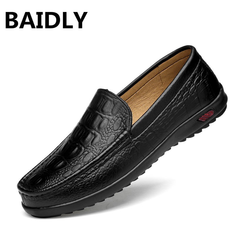 BAIDLY British Style Casual Men Shoes Spring Autumn Genuine Leather Men s Flats Men Sneakers Footwear