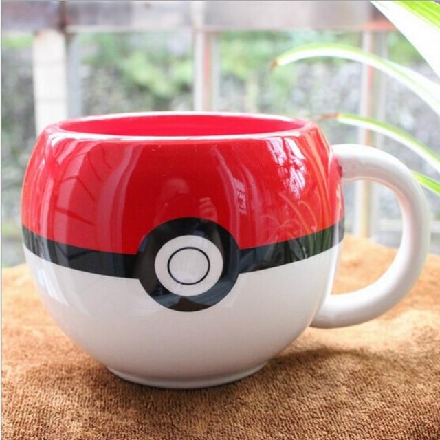 Transporte da gota-pokemon poke bola caneca pikachu handgrip cerâmica água leite chá caneca de café para o menino surpresa presente