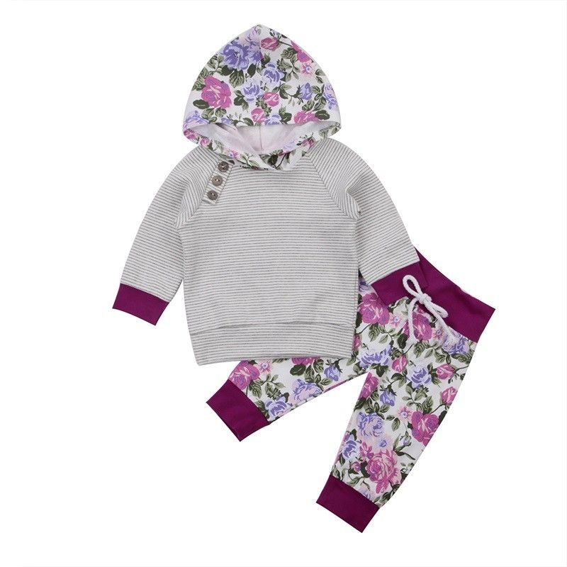 2017 Brand New Newborn Toddler Infant Kids Outfit Baby Girl Clothes Hoodie Long Sleeve T-shirt Tops Pants Floral 2Pc Autumn Sets girls tops cute pants outfit clothes newborn kids baby girl clothing sets summer off shoulder striped short sleeve 1 6t
