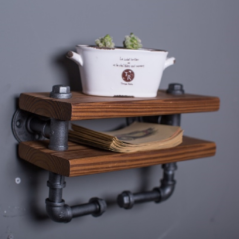 IRON WATER PIPES BOOKSHELF LOFT INDUSTRIAL RETRO WOODEN BOOKCASE COAT HAT SHELF WOOD WALL DISPLAY RACK DISPLAY SHELVES-Z37