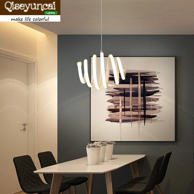 Qiseyuncai Modern restaurant slim spiral led chandelier single head living room simple creative personality bar lamps цена