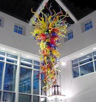 Designer Villa Art Decoration Chandelier LED Light Source Chihuly Style Hand Blown Colored Glass Large Long