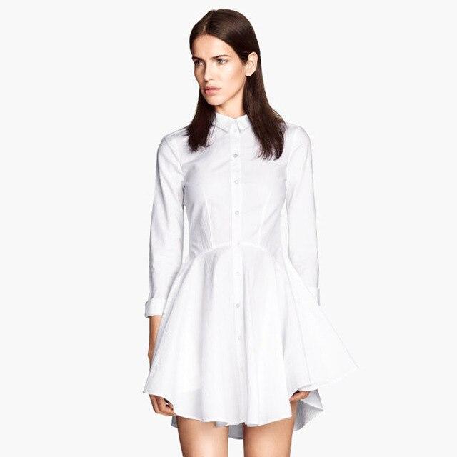 f3208c1ef6e1 2014 New Autumn / Winter Fashion Elegant Women Ladies OL Lolita White Dress  shirt paragraph turn-down collar BigPlus Size