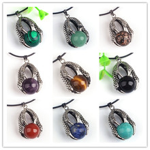 Kraft-beads Silver Plated Dragon Claw Green Turquoises Stone Pendant Red Agates Classic Jewelry