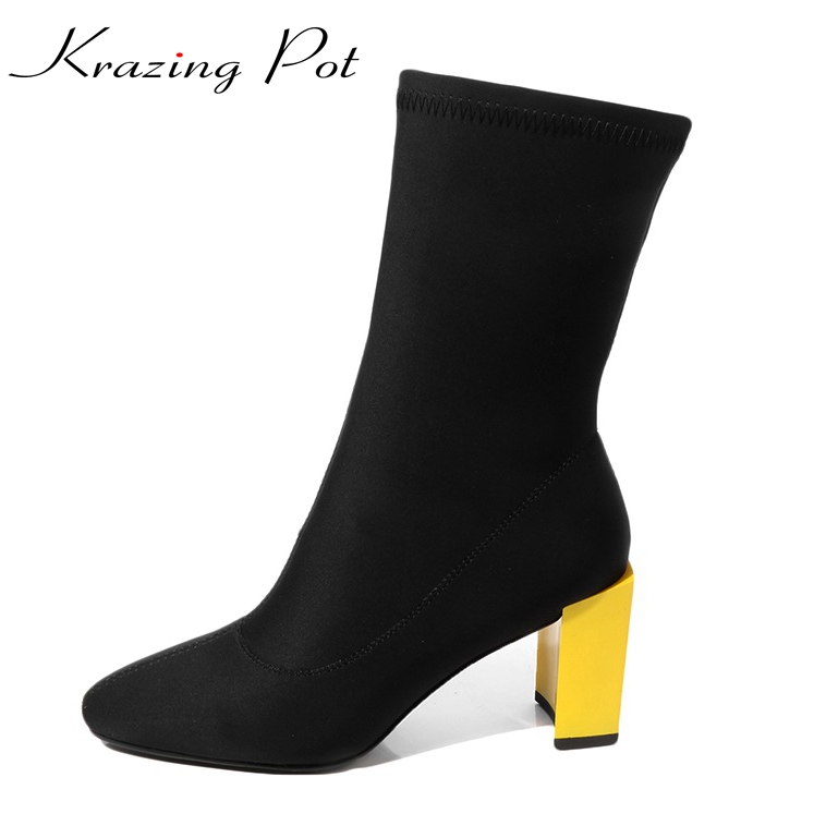 Krazing Pot stretch fabric plus size cozy high heels square toe rome style patchwork women superstar mid-calf stretch boots L19 krazing pot genuine leather sheep skin thick high heels square toe zipper boots women superstar party western mid calf boots l17