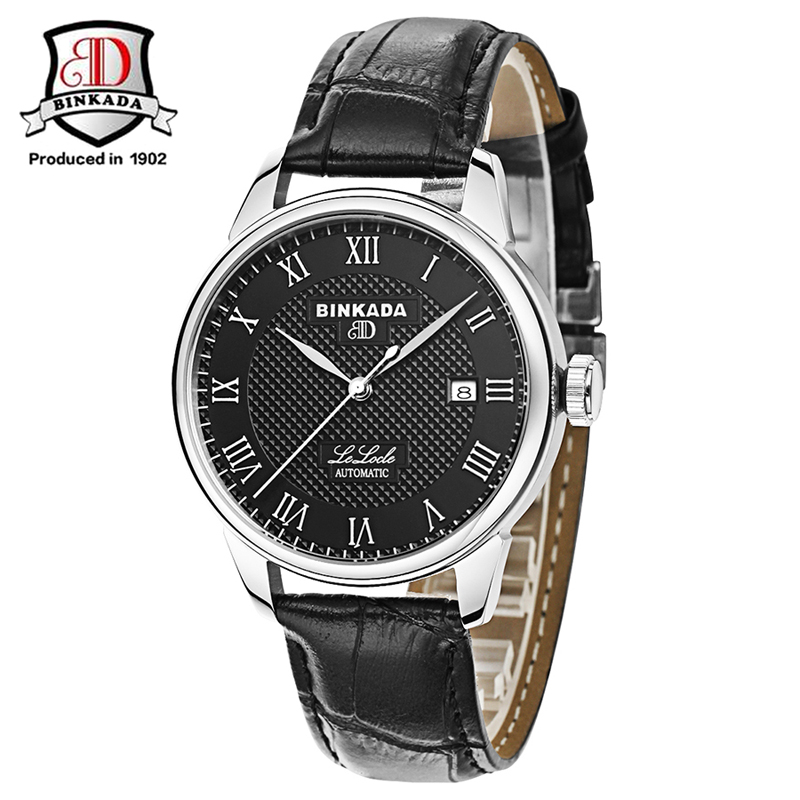 BINKADA Men's Luxury Brand Military Mechanical Watches Leather Steel Strap Automatic Men Watch Calendar Relojes Hombre браслеты nina ricci nr 70152921108190