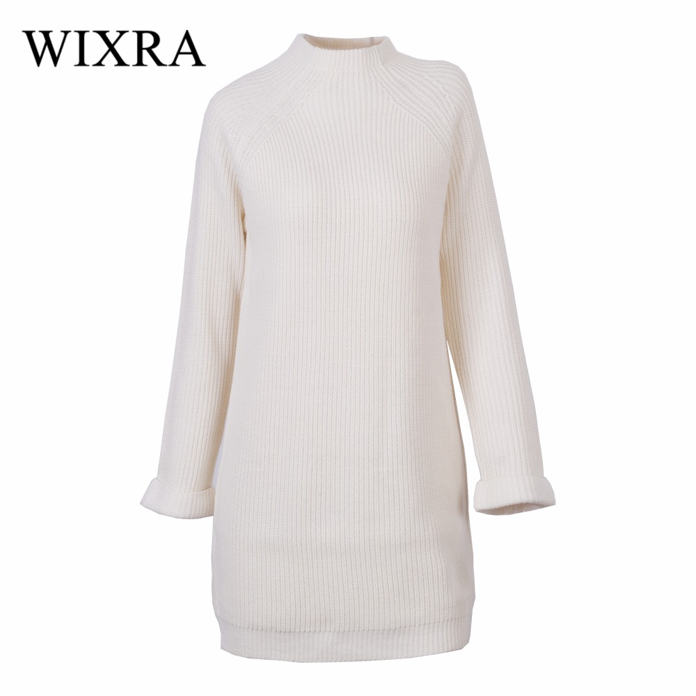 Wixra Warm and Charm Brand New Women Sweater Dress Winter Pullover Causal Loose O-neck Full Sleeve Knitted Dresses Wear new 2017 hats for women mix color cotton unisex men winter women fashion hip hop knitted warm hat female beanies cap6a03