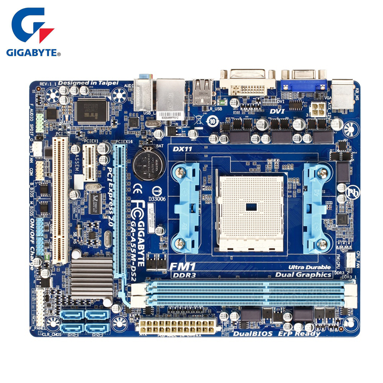 Gigabyte Motherboard GA-A55M-DS2 100% Original DDR3 Desktop Mainboard Boards A55M-DS2 Socket FM1 A55 32GB Systemboard Boards msi original zh77a g43 motherboard ddr3 lga 1155 for i3 i5 i7 cpu 32gb usb3 0 sata3 h77 motherboard
