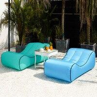 Al aire libre perezoso saco de dormir para sofá plegable portátil rápido de aire inflable bolsa de adultos niños playa golpe lilo cama Tumbonas para exteriores     -