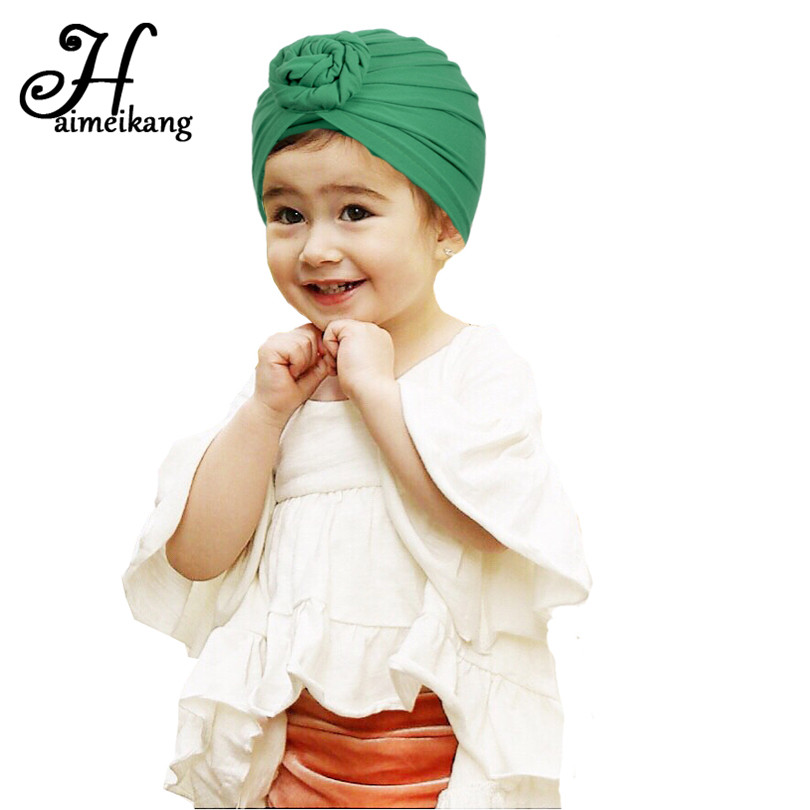 Haimeikang Cuter Knot Turban Hat Headband Hair Bands Head Wrap Cap For Girls Kids Hair Accessories Ornaments Headdress Headwear chemo skullies satin cap bandana wrap cancer hat cap chemo slip on bonnet 10 colors 10pcs lot free ship
